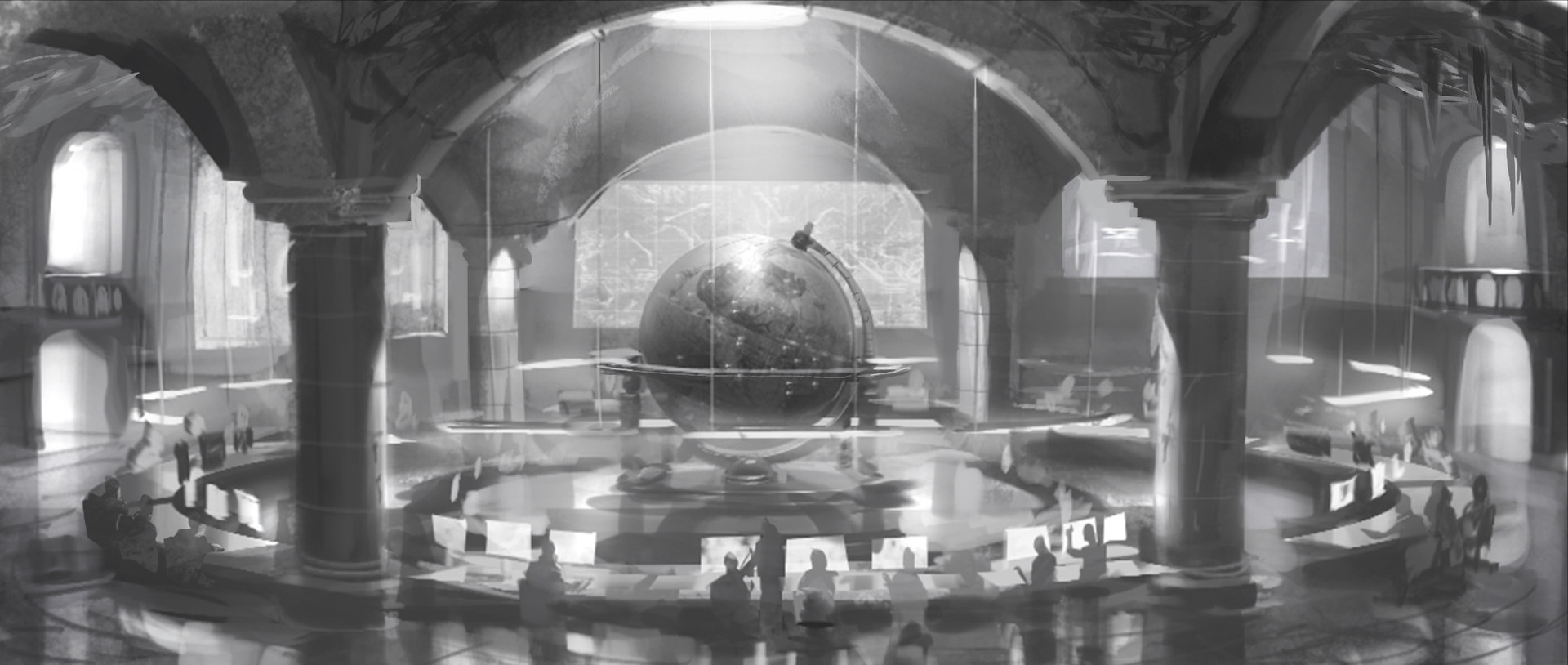 My breakthrough came with this sketch, replacing the traditional world map screens with an ancient globe retrofitted with LED displays.