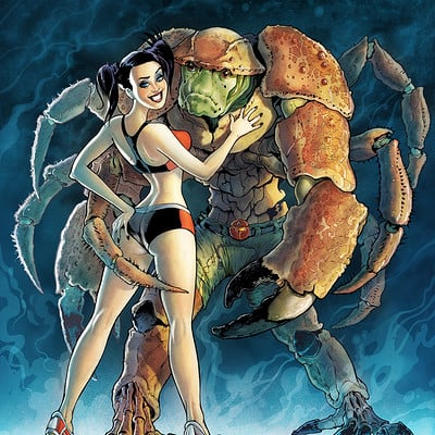 Serge fiedos girl and crab man by serge fiedos