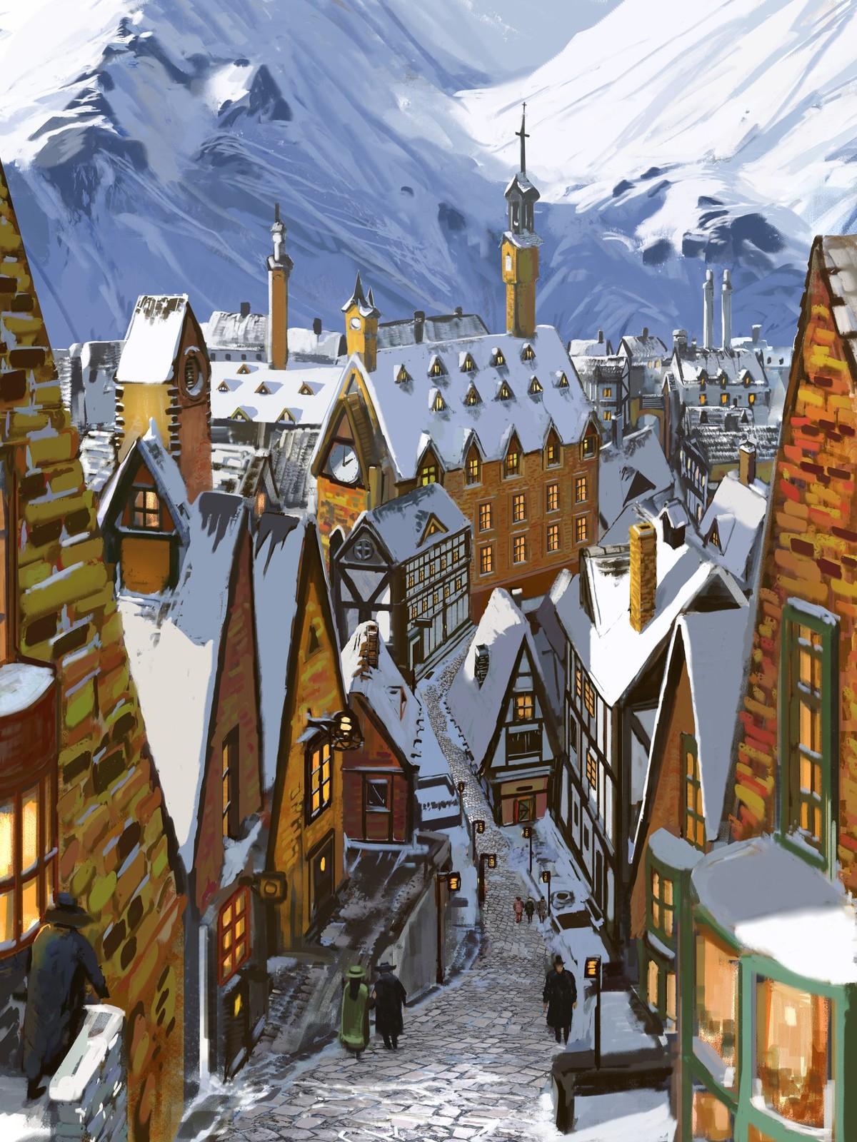 Old city under snow