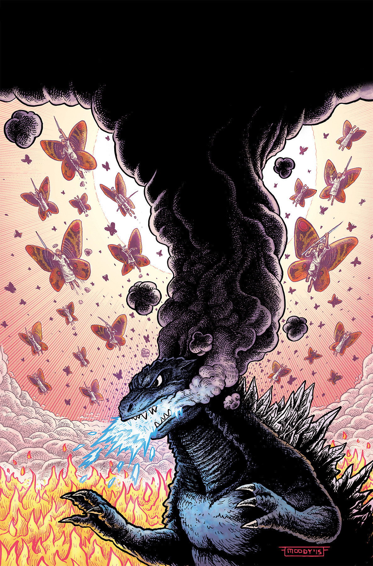 Godzilla in Hell #3 cover art, no cover dressing.