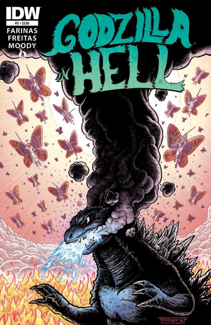 Godzilla in Hell #3 cover art, with final cover dressing.
