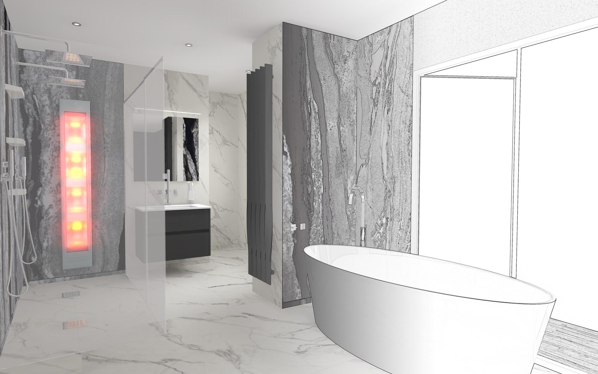 Lukas kedden cook bathroom sketch 1 & Lukas Kedden - Modern Marble Bathroom
