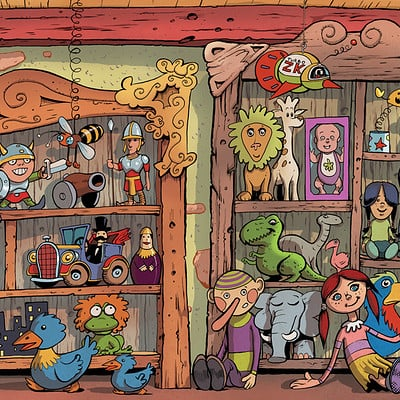Serge fiedos kid show toy shop background by serge fiedos