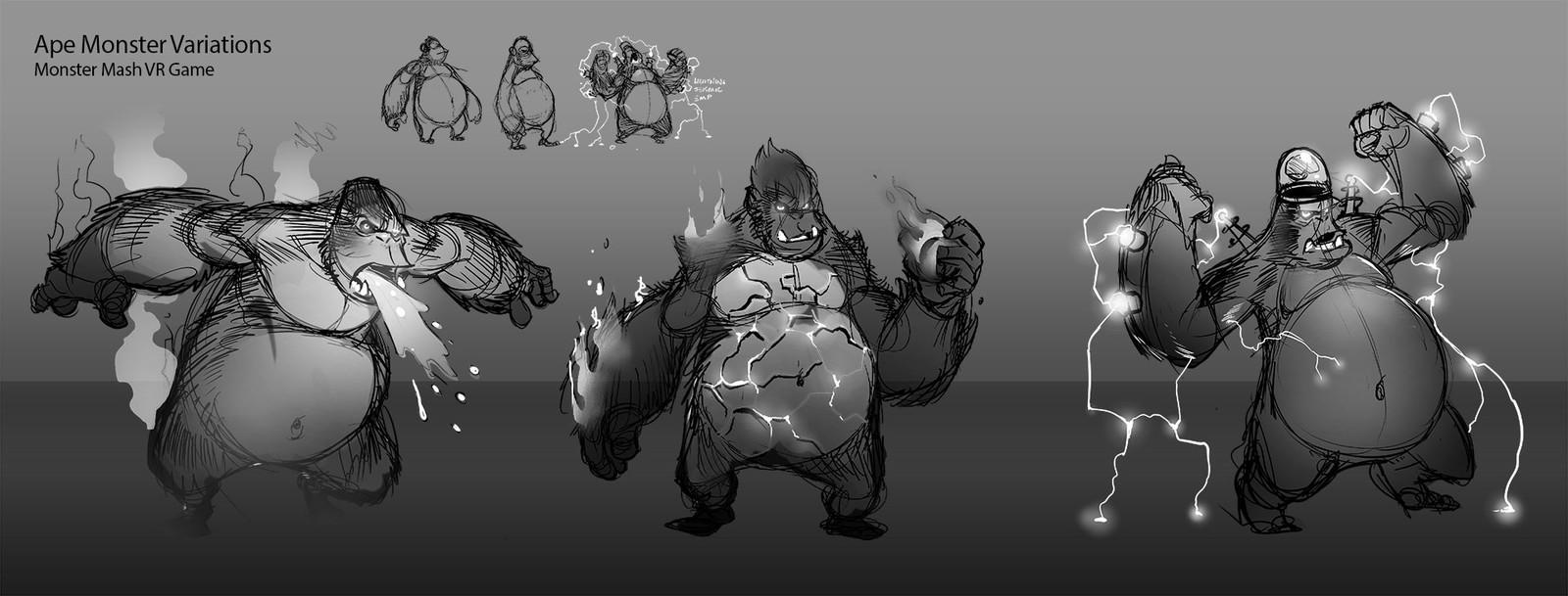 Preproduction: Ape monster explorations