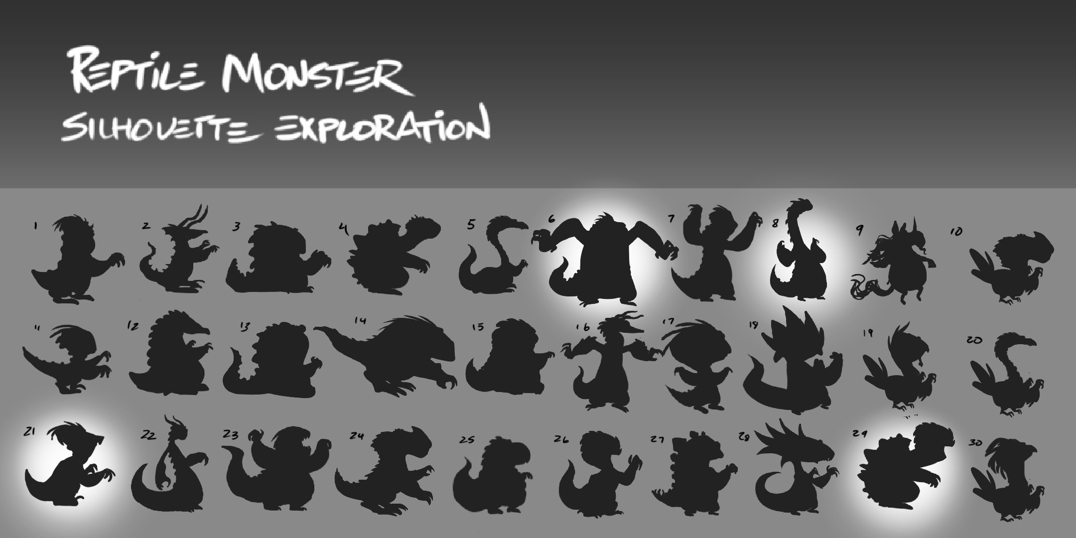 Settling on the reptile creature idea, silhouette explorations begin.