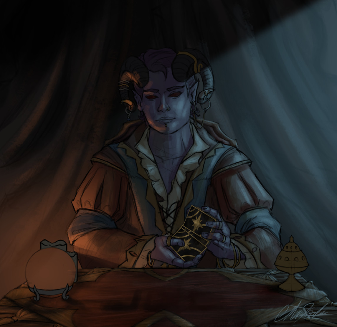 Christian hadfield dnd criticalrole molly tarot reader wip2