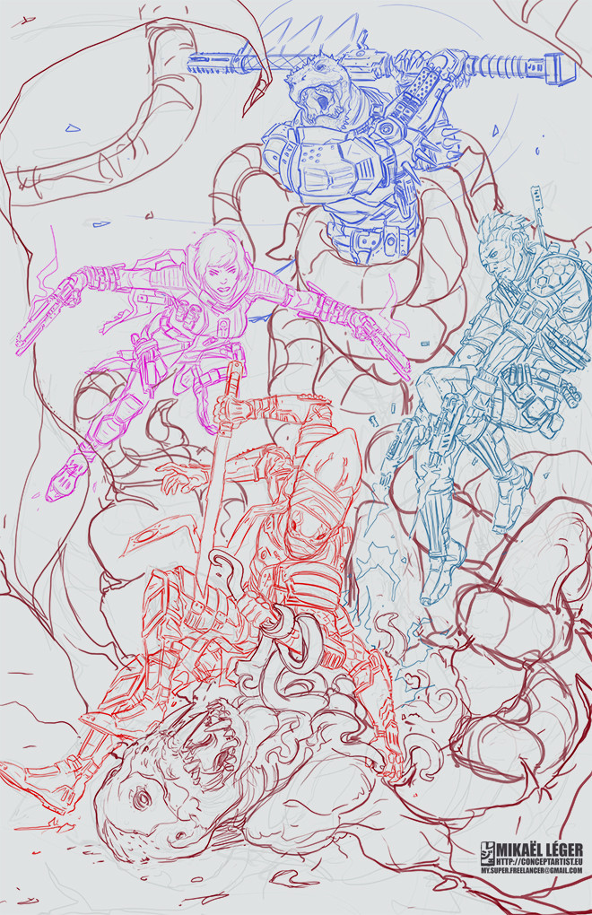 Initial sketch for a one-page illustration.