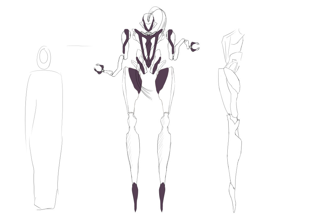 The initial idea. Kind of cool, but not focused, really hard to model, and has drunk lines everywhere.