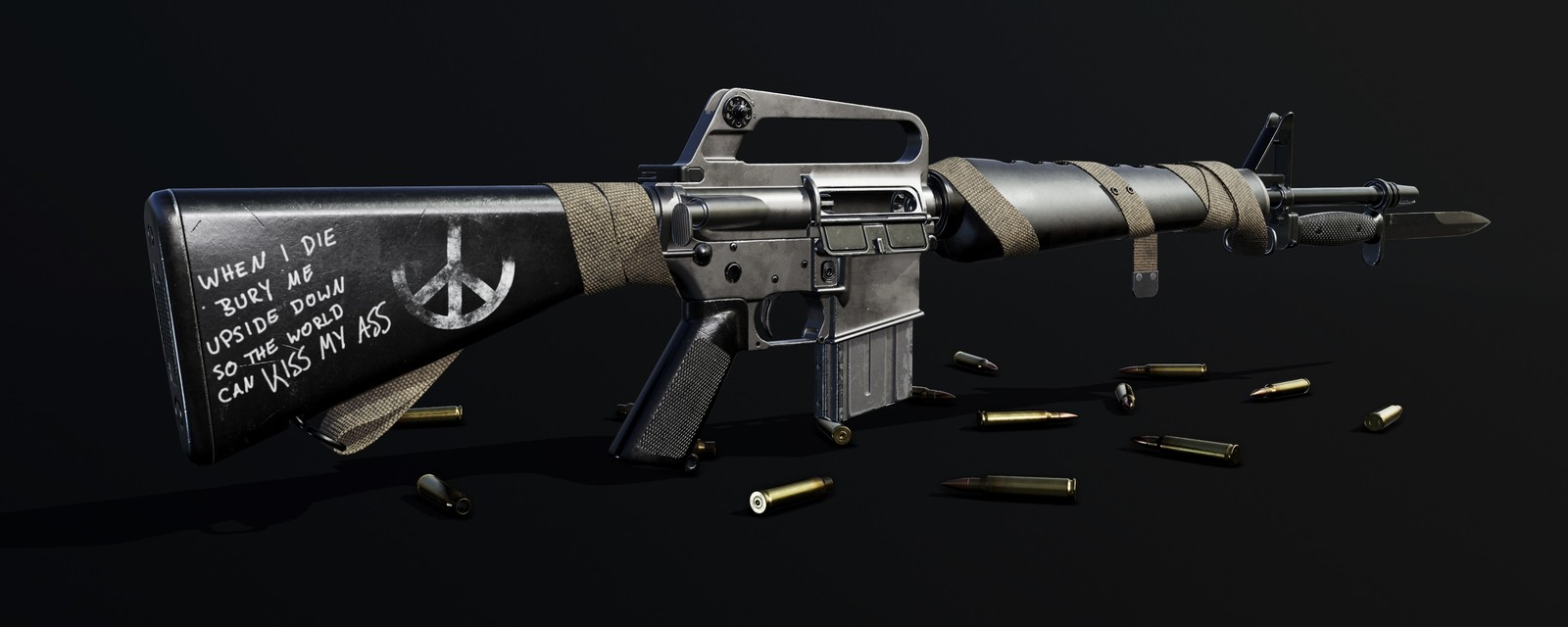 M16A1 with Bayonet and wrapped Sling