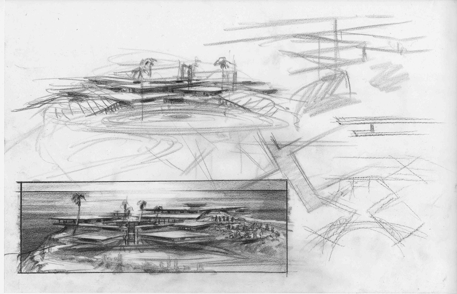 Earlier pencil exploration of more rectilinear cantilevered structures. The basic layout still remains the same in the final version, with the guest house cantilevered over the driveway.