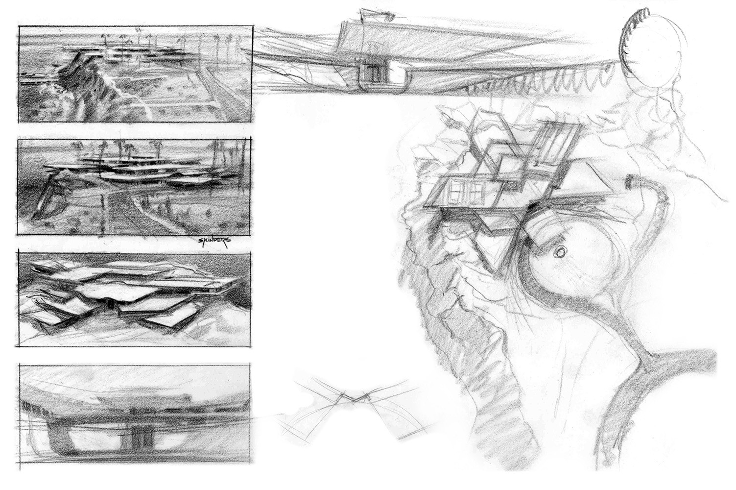 More early pencil exploration of terraced rectilinear structures.