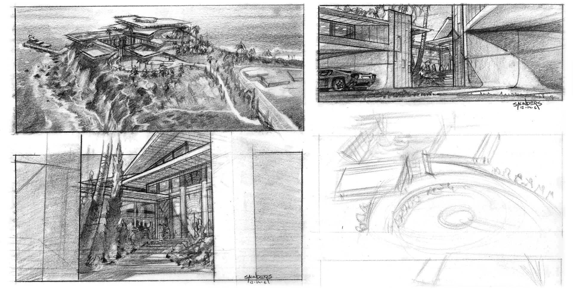 More sketches of the rectilinear version of the house.