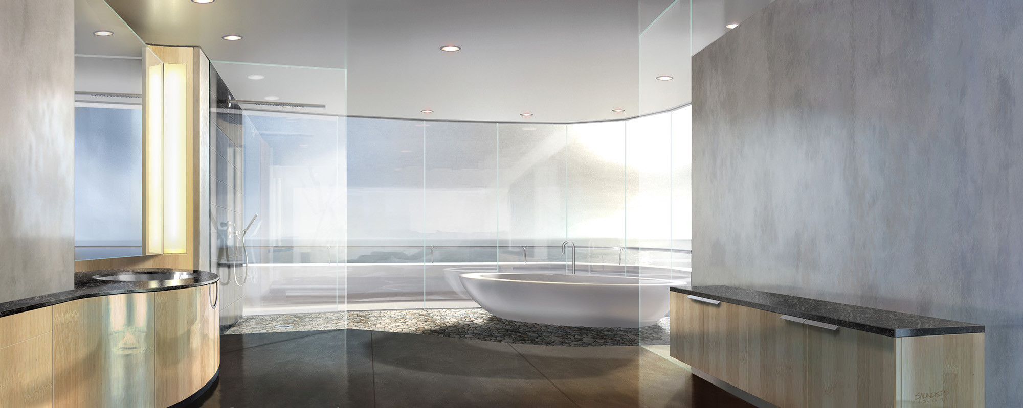 Tony's bathroom, west view. This never made it into the film but was fun to design nevertheless!