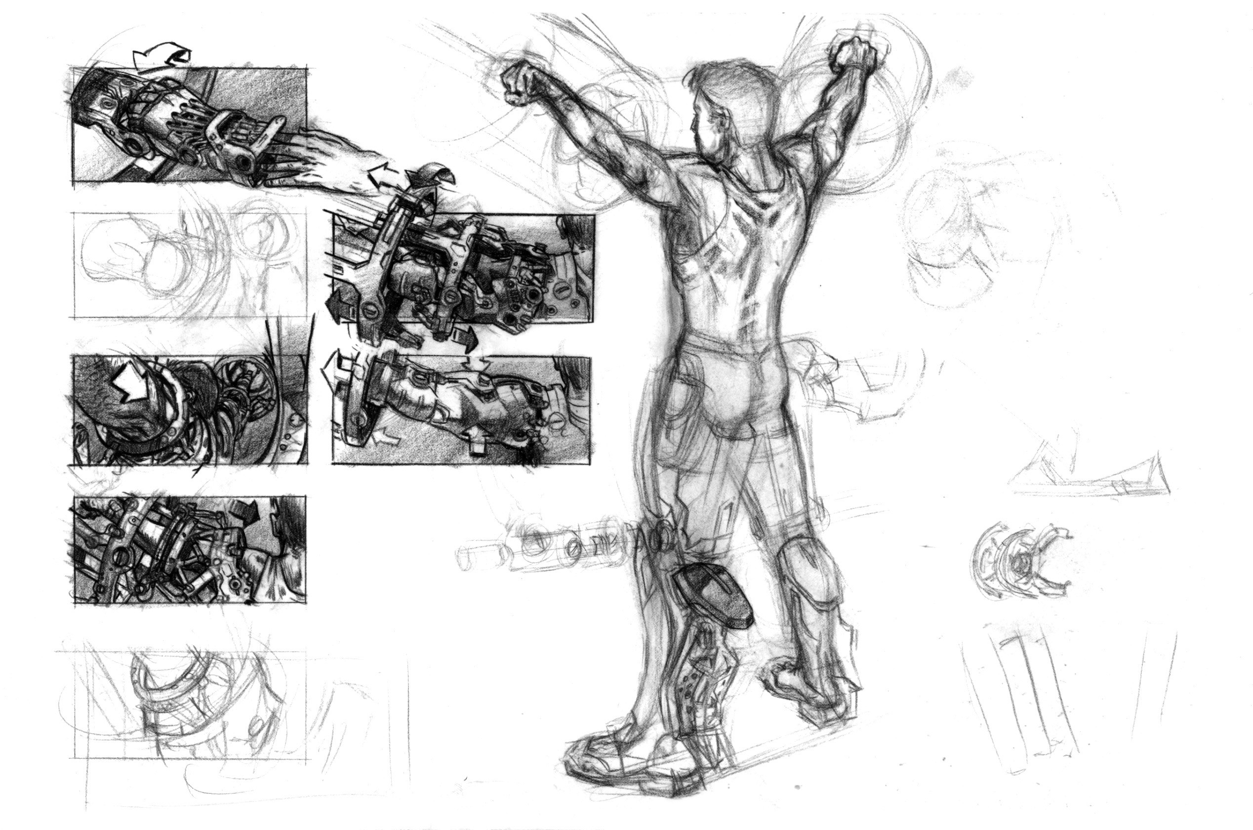 Suiting-up storyboards showing potential key shots in the suit-up sequence. (Pencil on vellum)