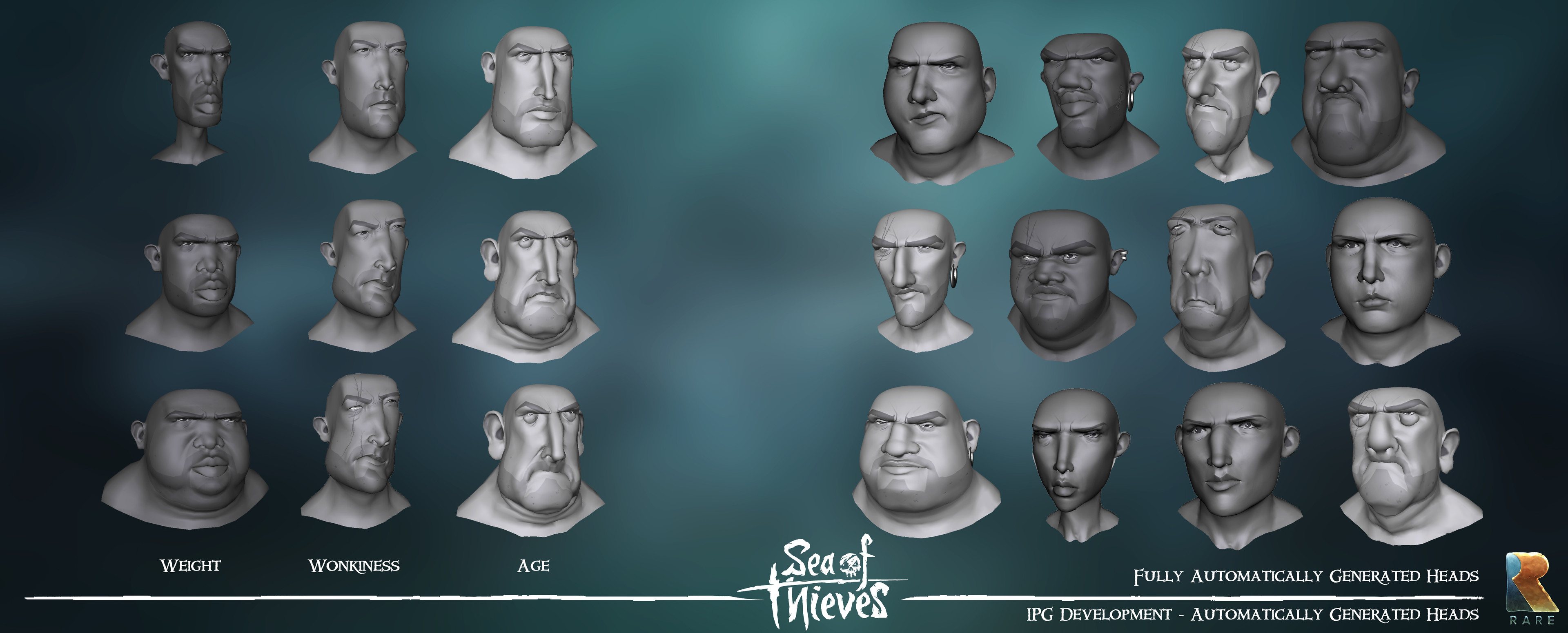 IPG - Very early Maya side IPG tests.  Fully automatically generated heads.  Randomised body Shape, wonkiness and age
