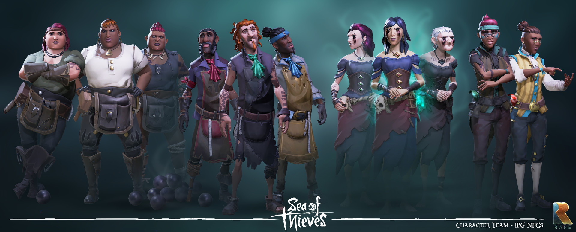 A selection of NPCs generated from the IPG.  You can see the diversity and personality of the generated characters really shine here.  All work by the Character Art team at Rare.