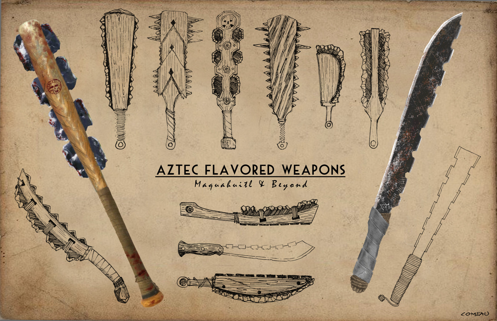 Aztec Inspired Weapons