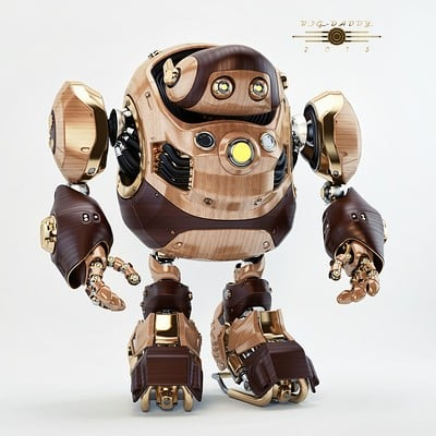 Vladislav ociacia big daddy robot wooden retro 3
