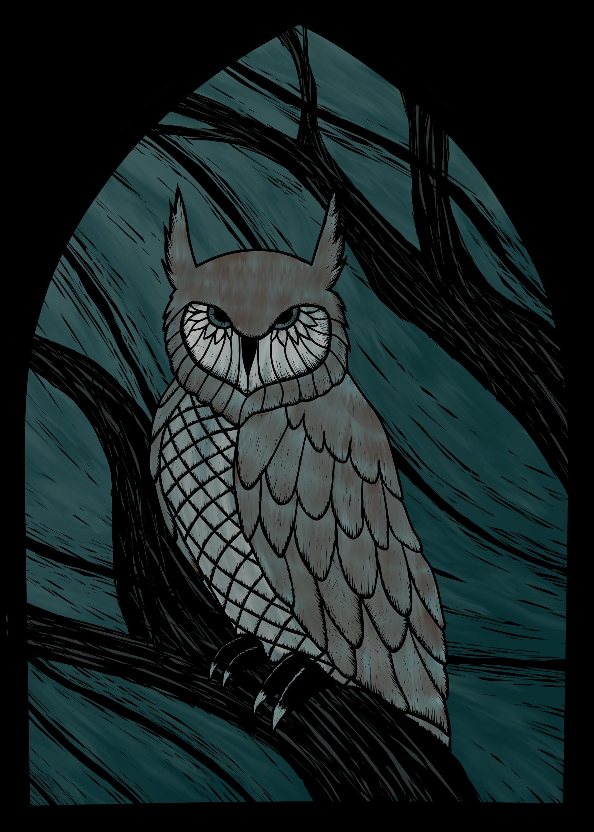 Jessica olney owl stained glass