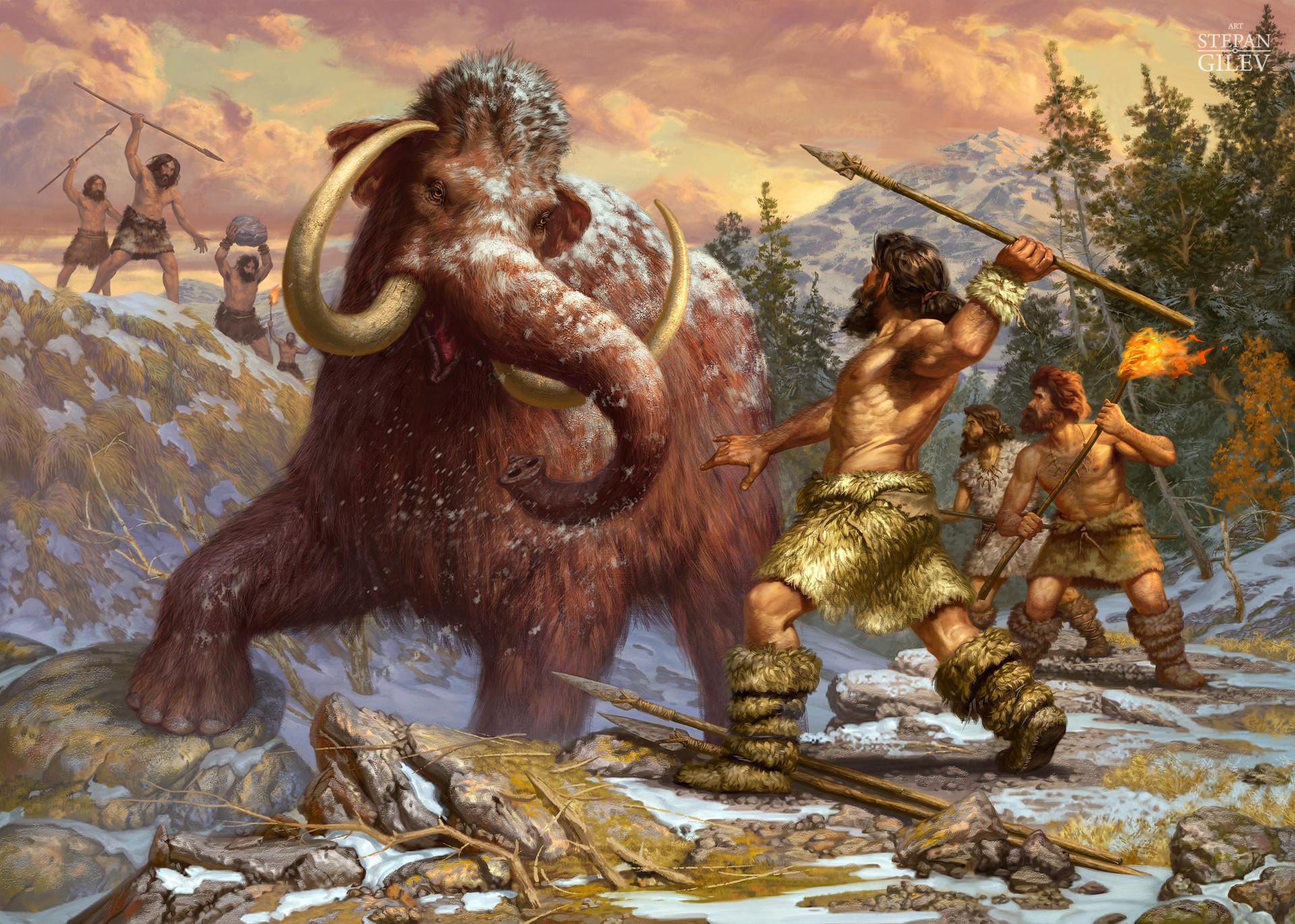 далекой картинка мамонта и древнего человека нас