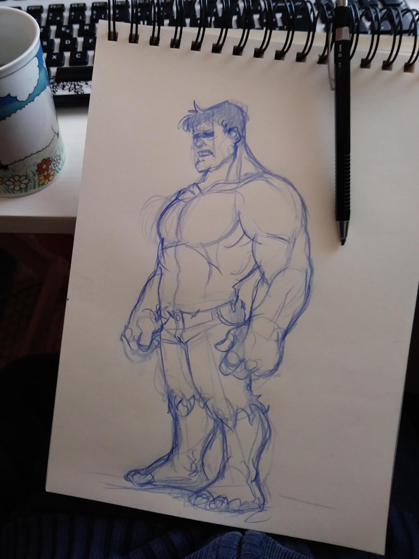 Serge fiedos hulk fullbody sketch by serge fiedos