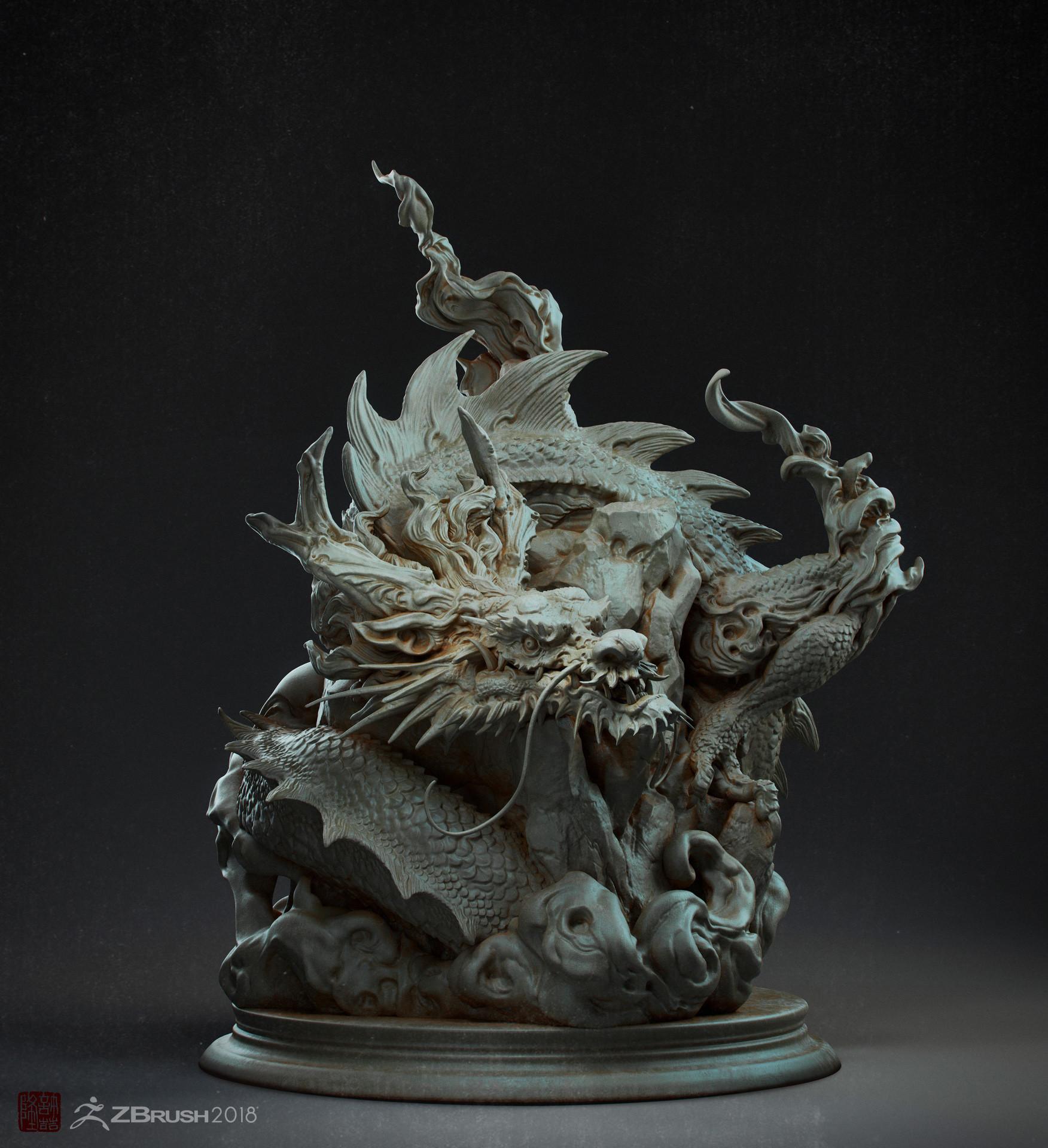 Zhelong xu chinese dragon statue001