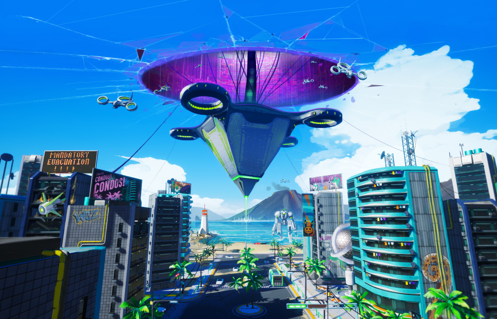 A giant evil space ship from another dimension looms above the city. What will you do to save the city!?