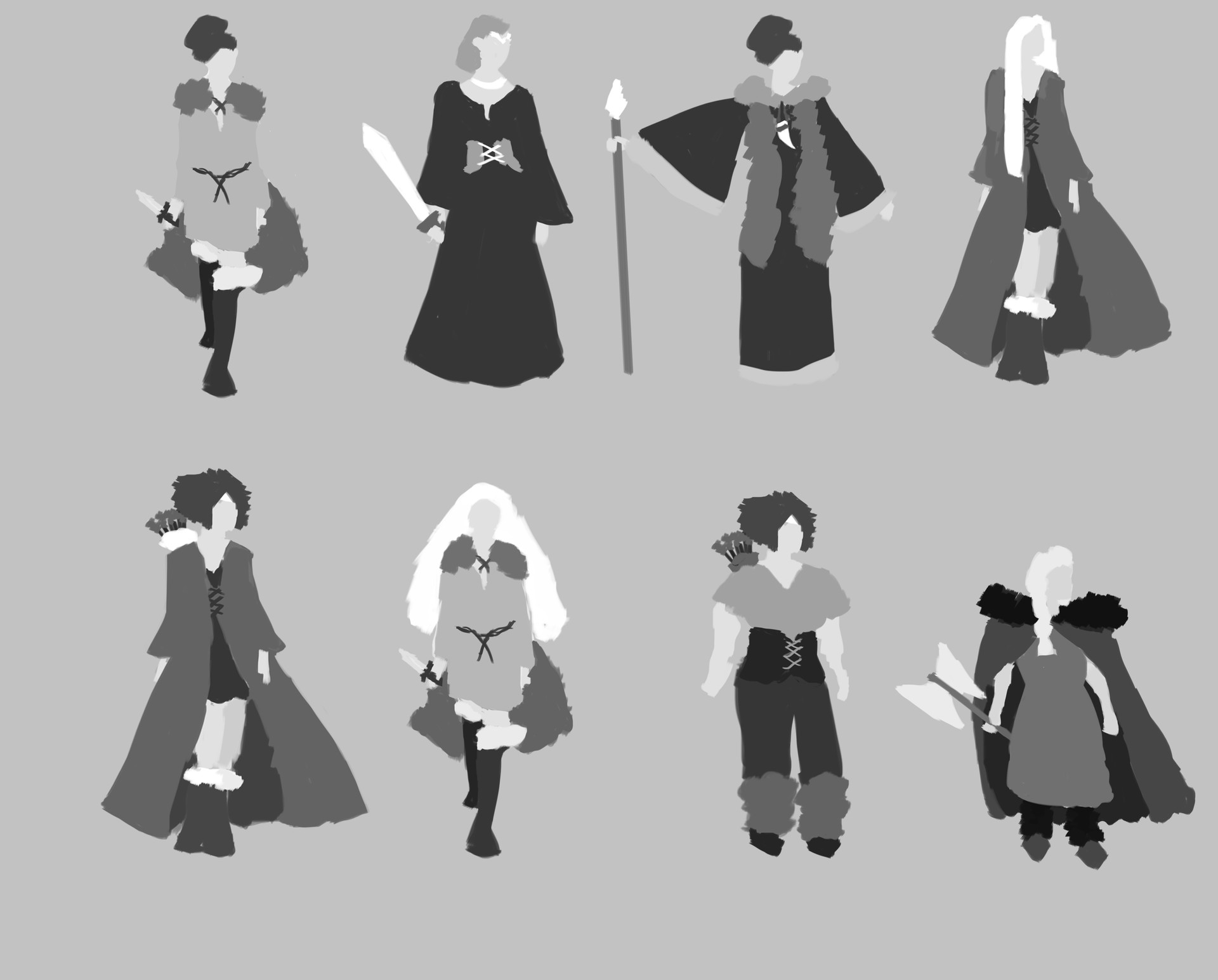Laura Johnston Greyscale Character Design Nordic Princess