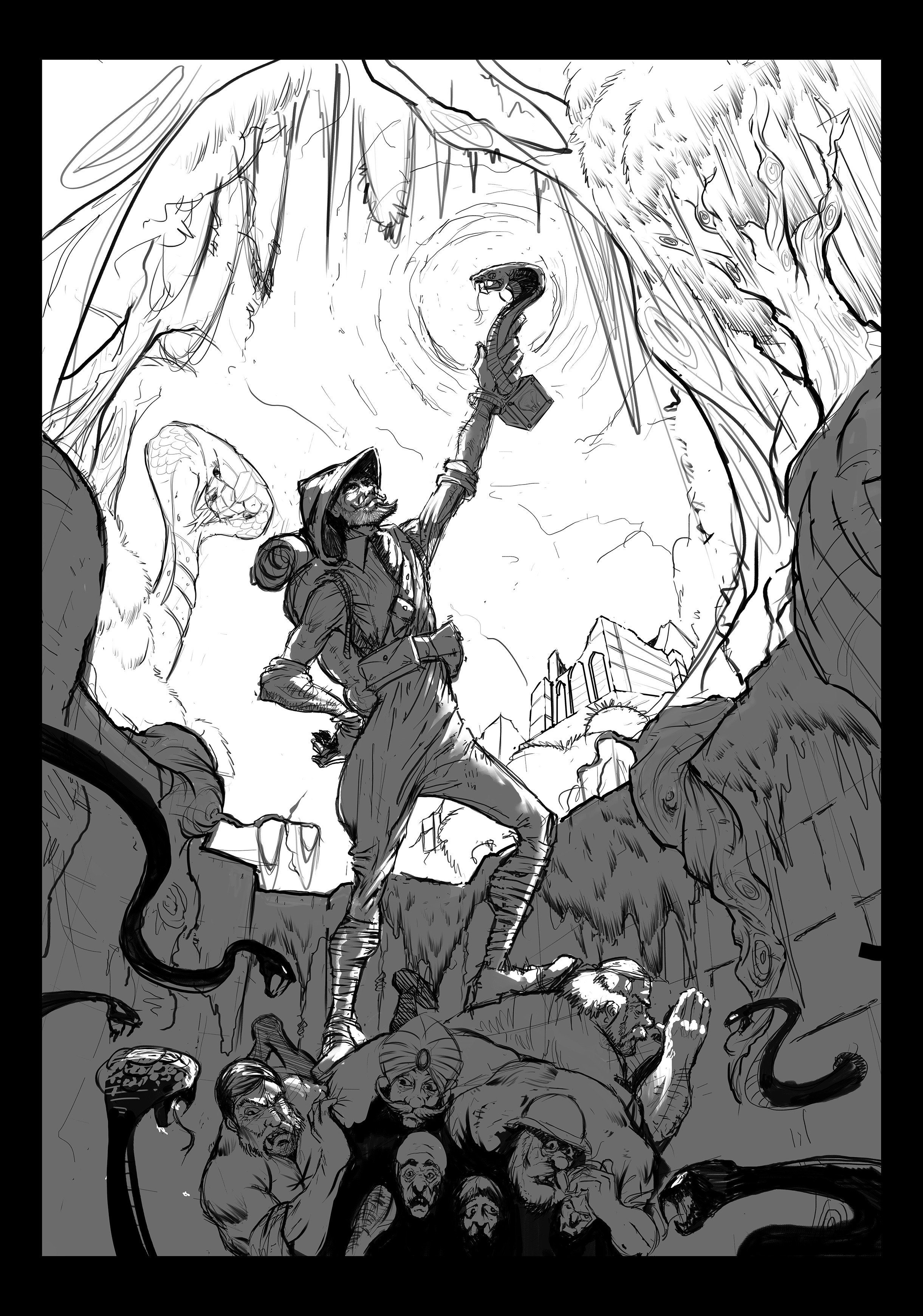 Sketch Layout , light blocking and added detail