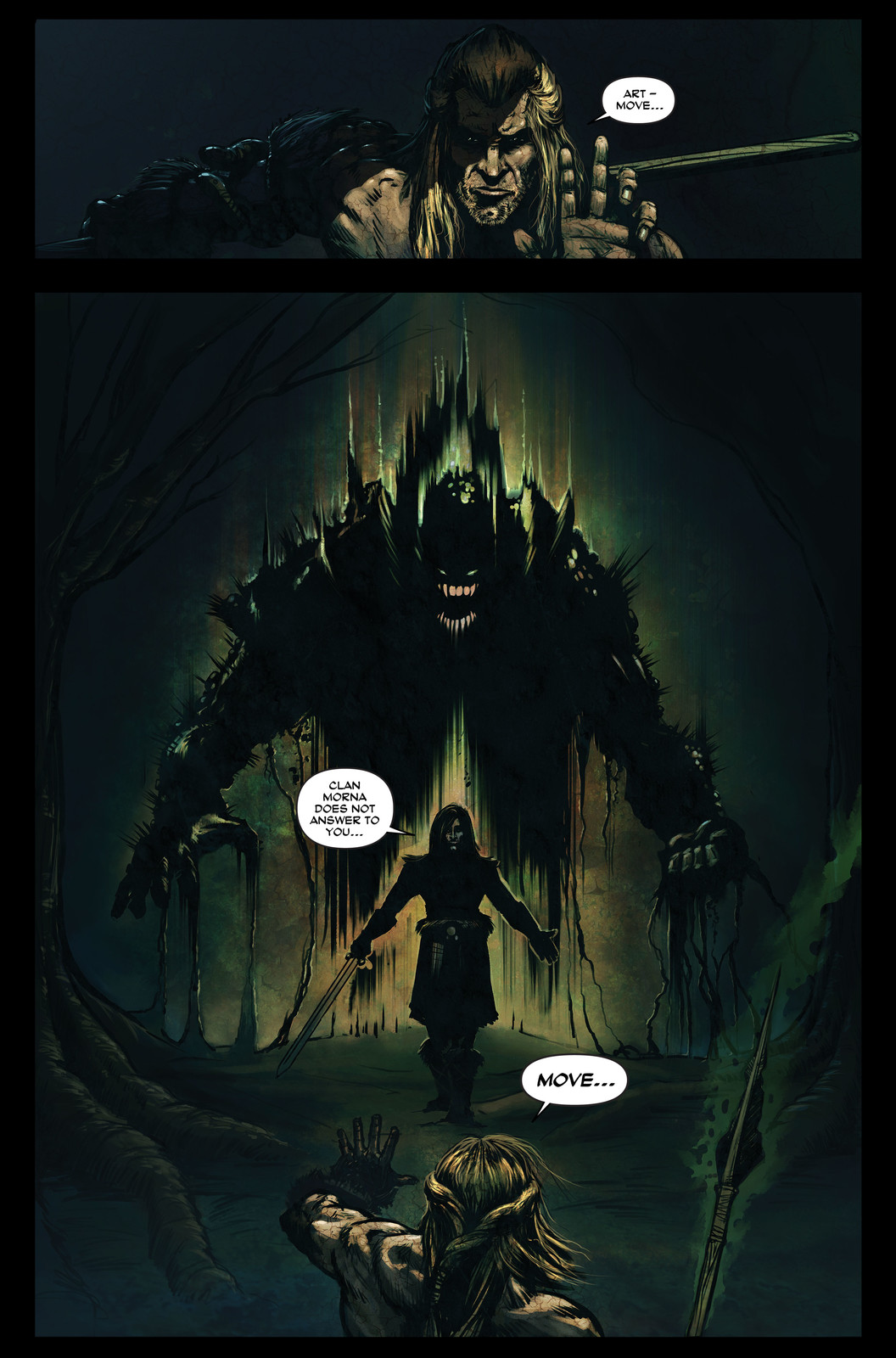 Finn McCool Comic - Finn meets Art and the creature Aillen
