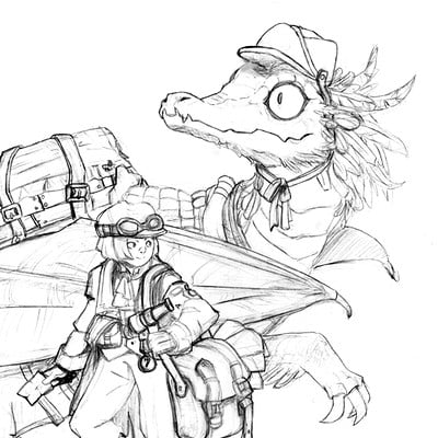 Yara abril sketch kid and dragon pencils