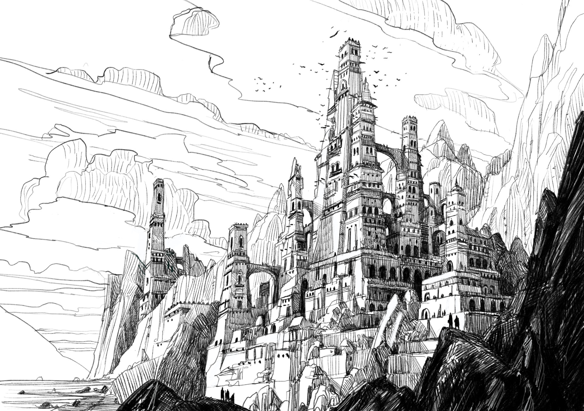 Castle in the Mountains. done in Procreate. 2017