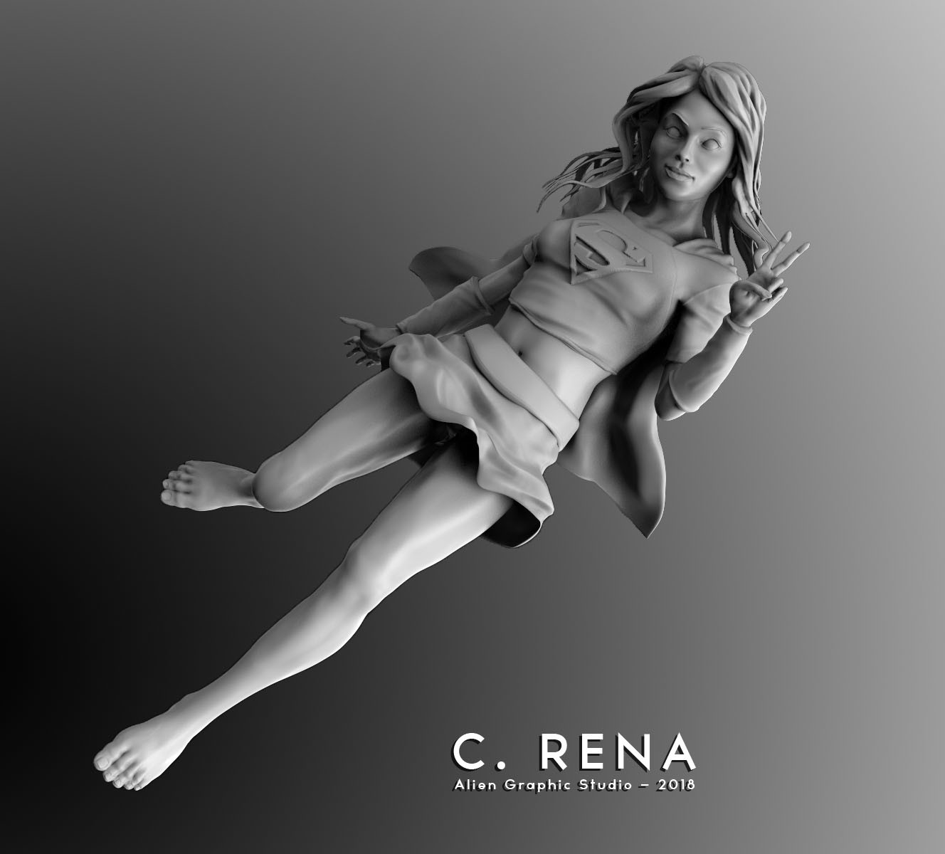 Chris rena sexy super girl keyshot render1