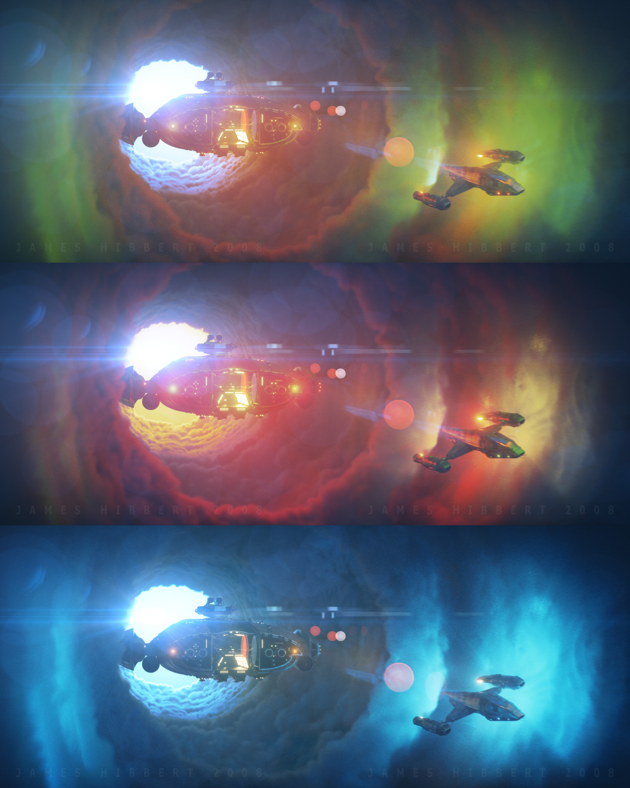 "More Volumetric tests I could not really decide what color scheme I wanted so I ended up doing a color study for a few different versions. The idea of course was inspired by the scene in the Starwars: ""Solo"" Trailer but was more of a technical art test mo"