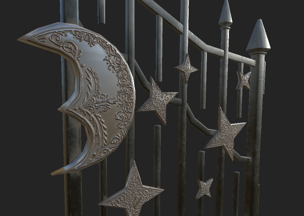 Wrought iron gate authored in Substance Painter.