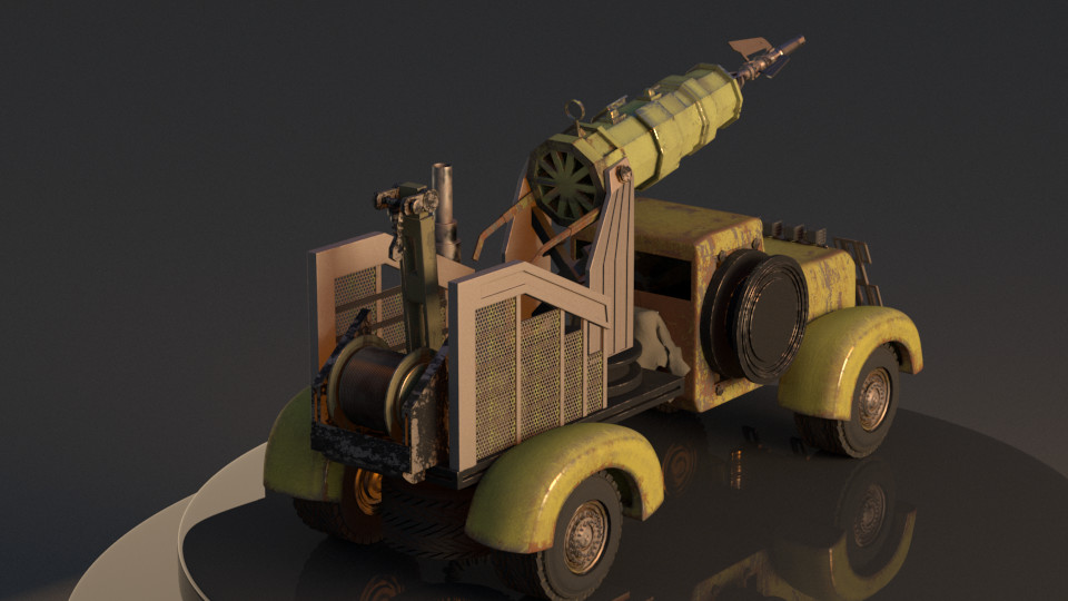 I'd settled on a rust bucket for the final look of the truck. The sand dunes also had to be replaced with a turntable.
