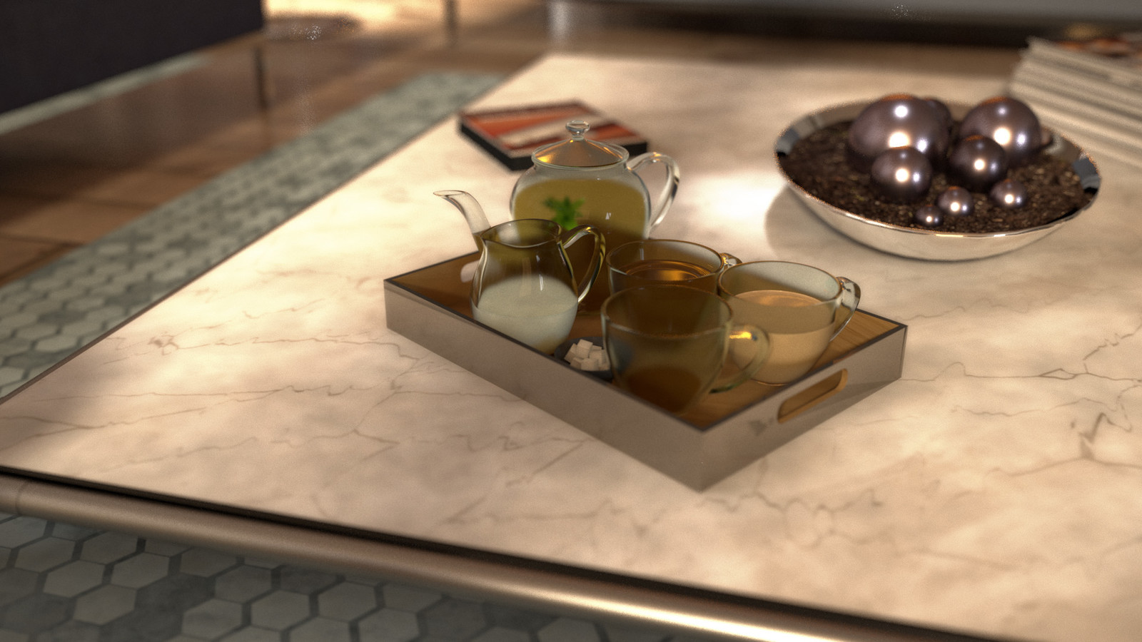 Finla render of the tea set. Moss balls were replaced; subsurface scatter was used on the milk mesh.