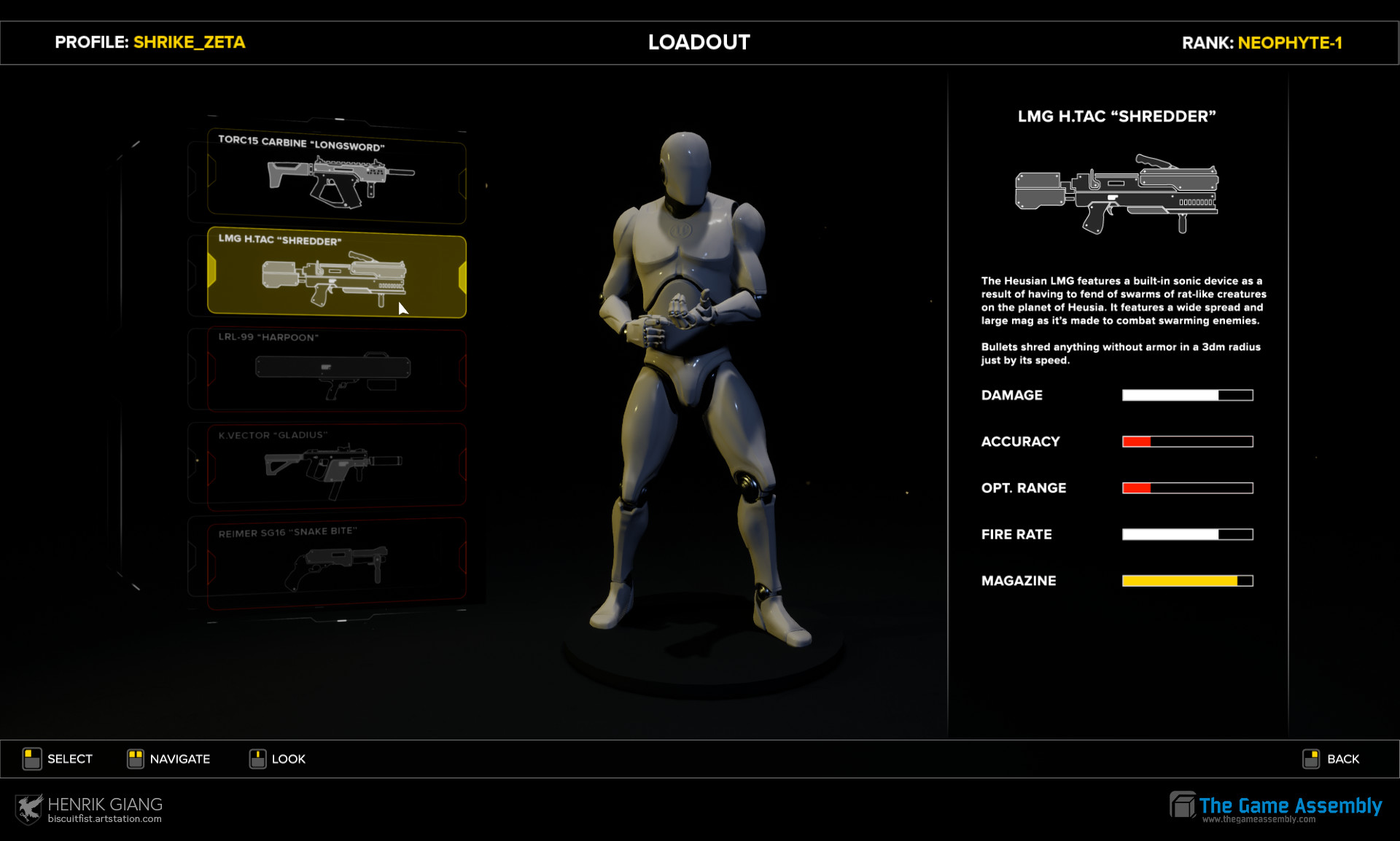 Sub-menus to access more weapons.