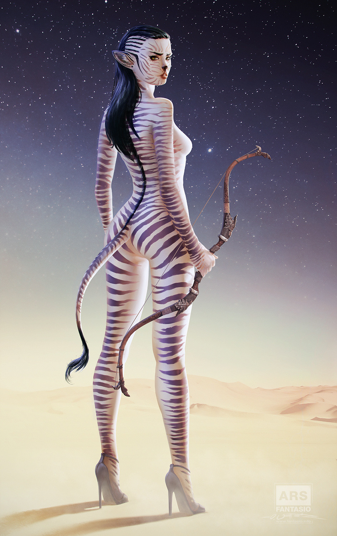 Cebra Girl: Hunter or Prey? (Pinup Art)