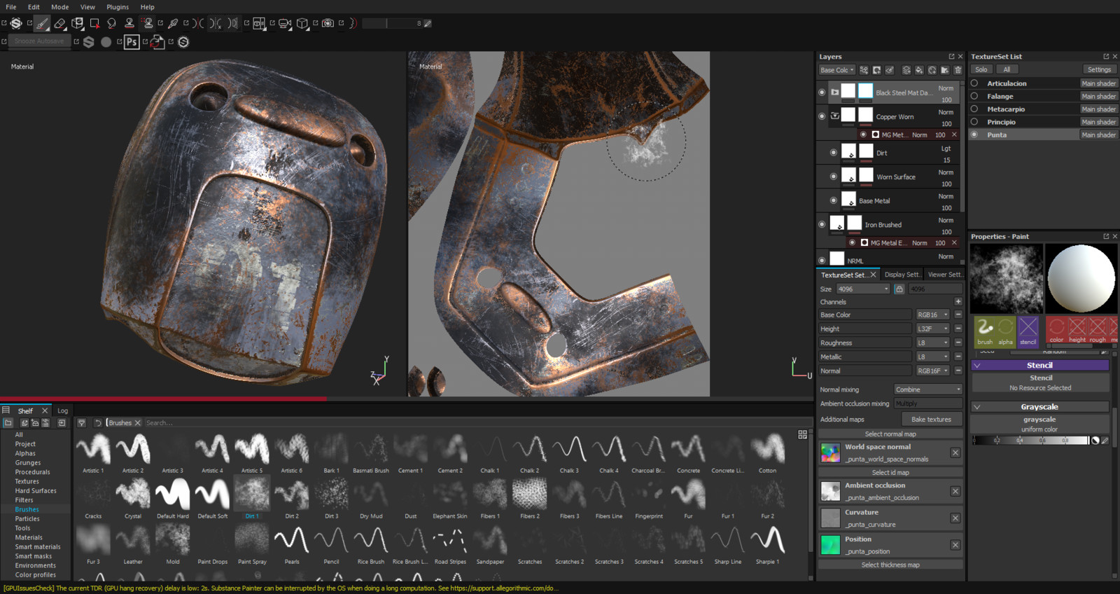 Working inside Substance painter on the mecha fingers