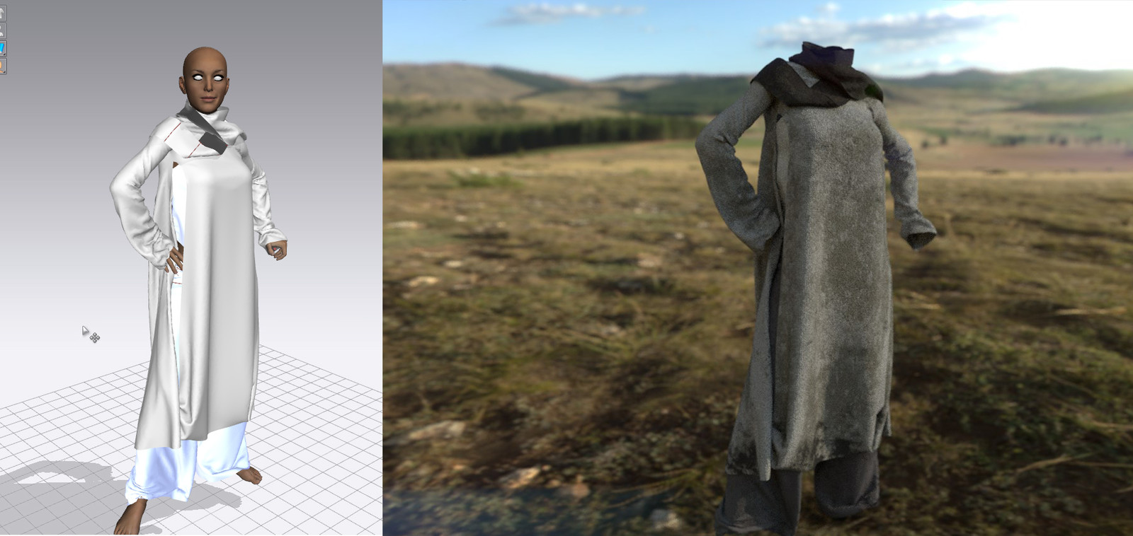 The clothes on Marvelous Designer and the clothes textured on SP