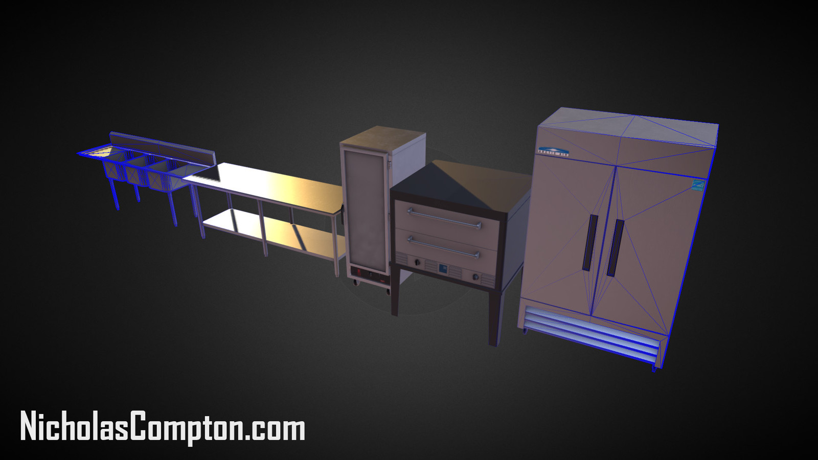 Industrial kitchen Assets Render