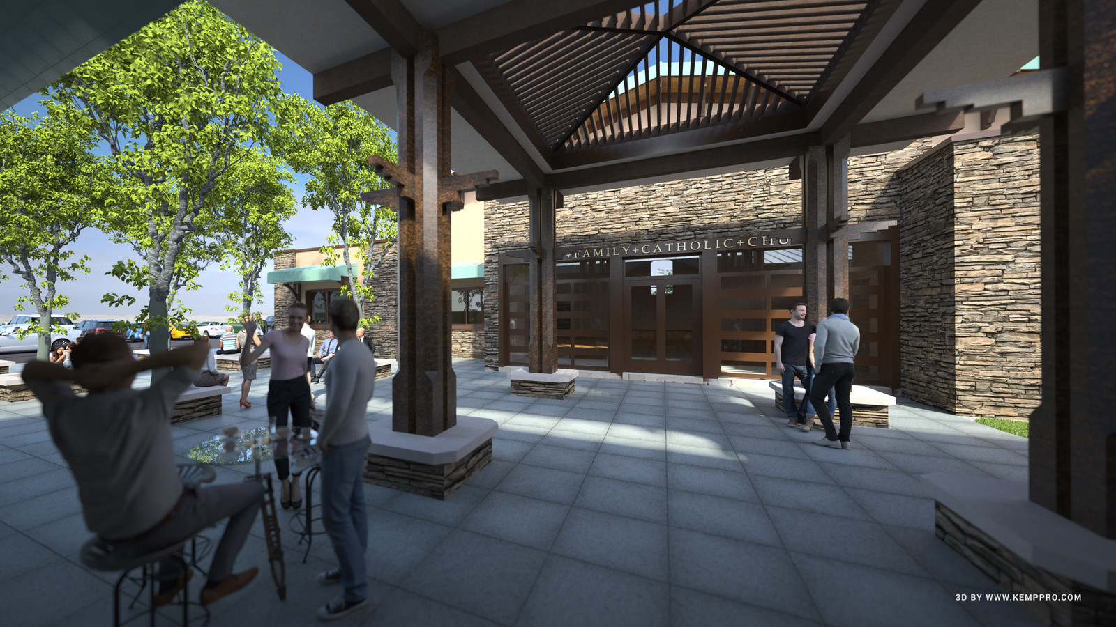 #SketchUp 2017 + #TheaRender  HFAC-CUP-Final-2nd-sky-Courtyard-DK-4_CK  The Holy Family Catholic Church, American Canyon, CA. Project  Architect: Liturgical Environs PC  HDR by HDRI-SKIES found here: http://hdri-skies.com/shop/hdri-sky-162/
