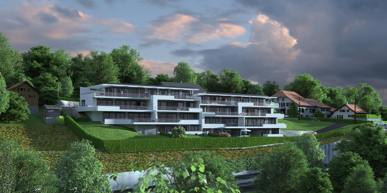 SketchUp 2018 + Thea Render  Project Lutry Thea Full work file 05 No Fog 2018 2-Scene 128 2pt 252 hdr  HDR by HDRI-SKIES found here: http://hdri-skies.com/shop/hdri-sky-252/