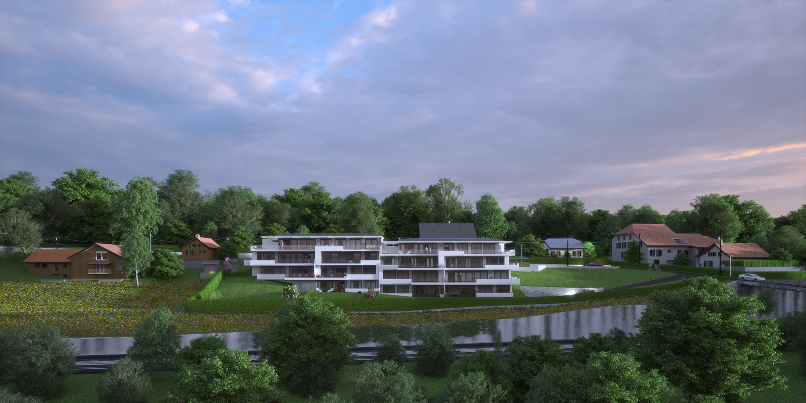 SketchUp 2018 + Thea Render  Project Lutry Thea Full work file 05 No Fog 2018-Scene 124 2 pt layers 274 hdr   HDR by HDRI-SKIES found here: http://hdri-skies.com/shop/hdri-sky-274/