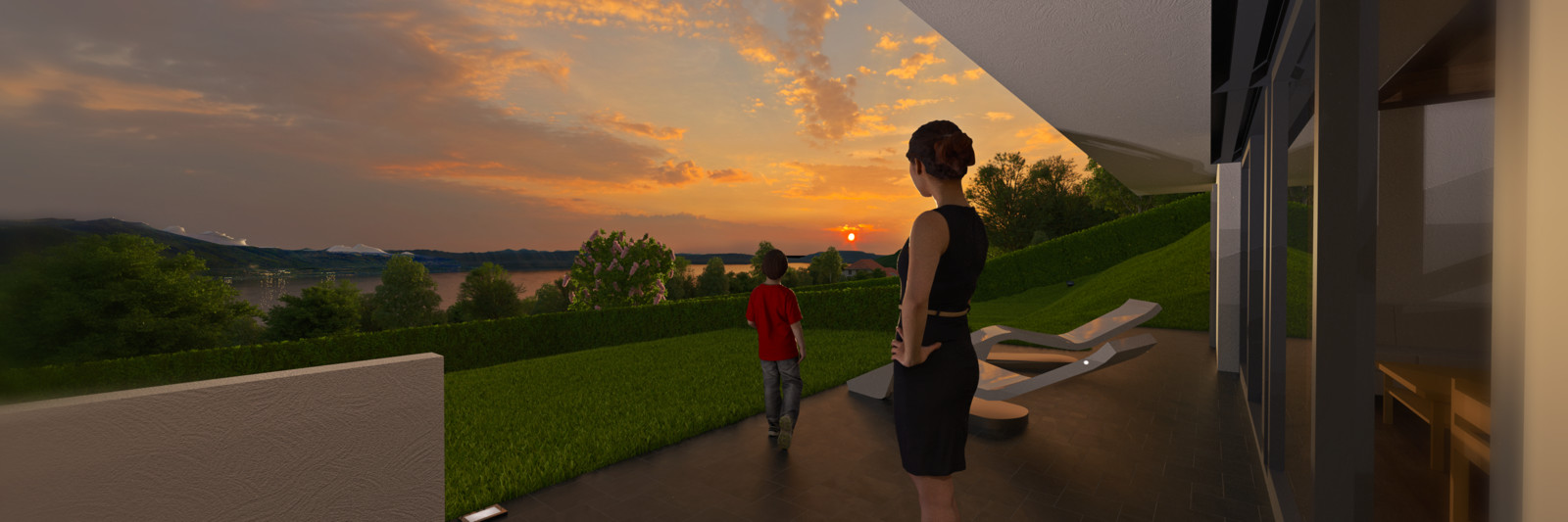 SketchUp + Thea Render  Built with SU 2014/15, Rendered with SU 2016 with Thea Render  Mom and kid to West 01 C Ingrid