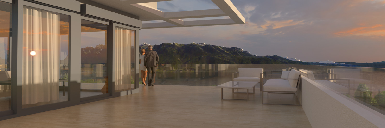 SketchUp + Thea Render  Lutry, Switzerland Scene Vue Lac 04 C Rise