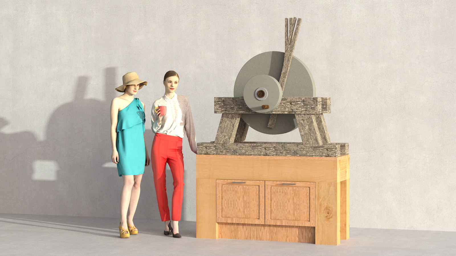 SketchUp + Thea Render  Rivendell Mill's Millstone 04  The 3d people are from AXYZ design collections found here: Collection 30 : http://bit.ly/2kS8pHx Collection 31 : http://bit.ly/2lJSkFu