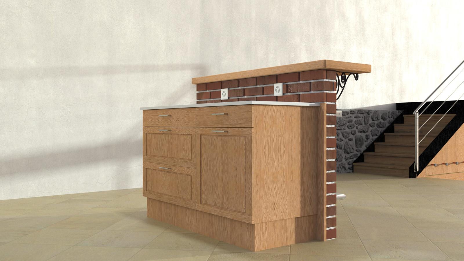 SketchUp + Thea Render  Rivendell Mill's Kitchen Bar Rivendell Brick Bar 2017-Scene 08