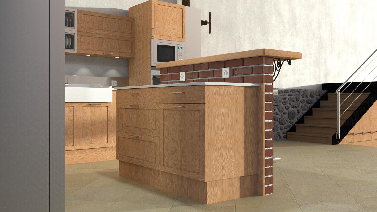SketchUp + Thea Render  Rivendell Mill's Kitchen Bar Rivendell Brick Bar 2017-Scene 09
